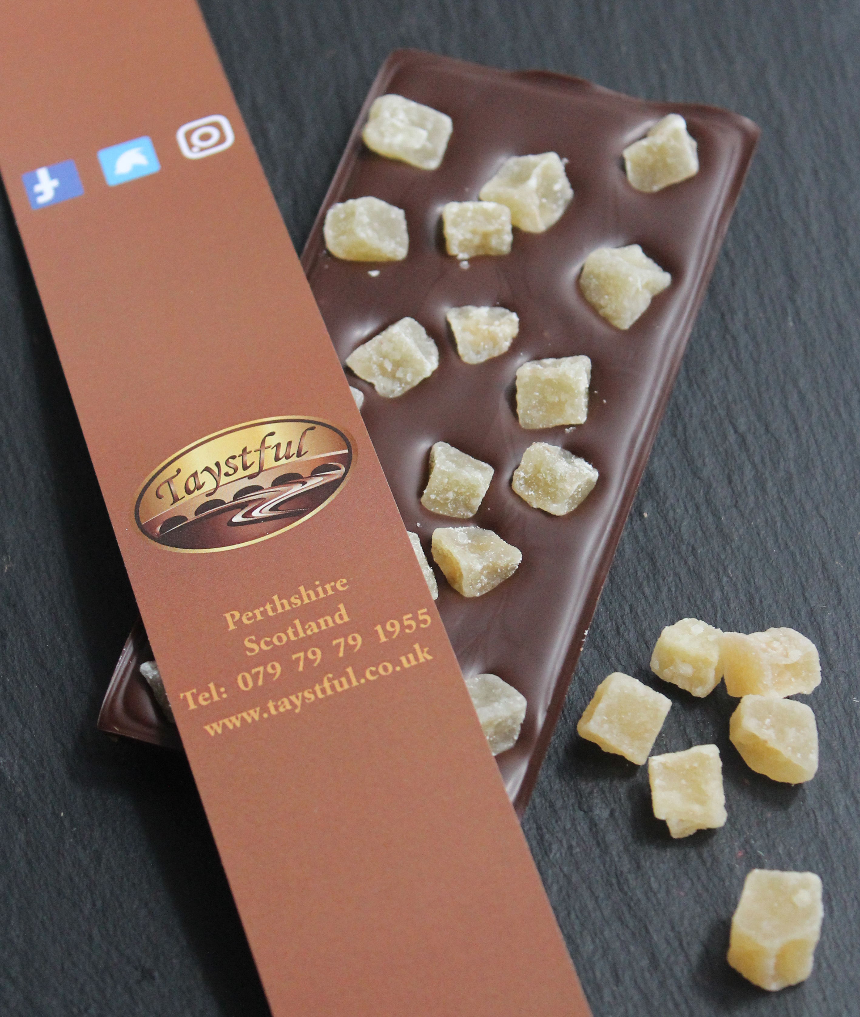 Dark Chocolate Bar with Ginger Chunks